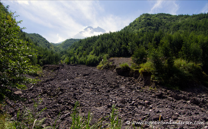 ver closer to the volcano. Lots of debris from the 2010 eruption on the dry riverbed.