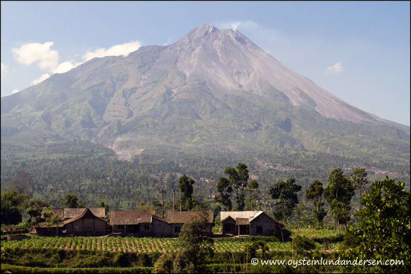 1. Houses only 7km from Merapi, are always in the danger zone for Pyroclastic flows. More settlements can be seen on the foot of the mountain.