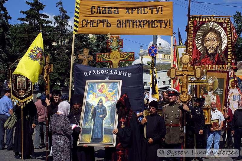 Members of the Orthodox Church parading the streets of Moscow