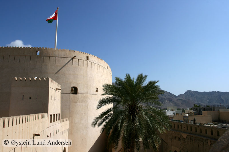 Nizwa fort. Built in 1660s. The fort was the administrative seat of authority for the presiding Imams and Walis in times of peace and conflict.