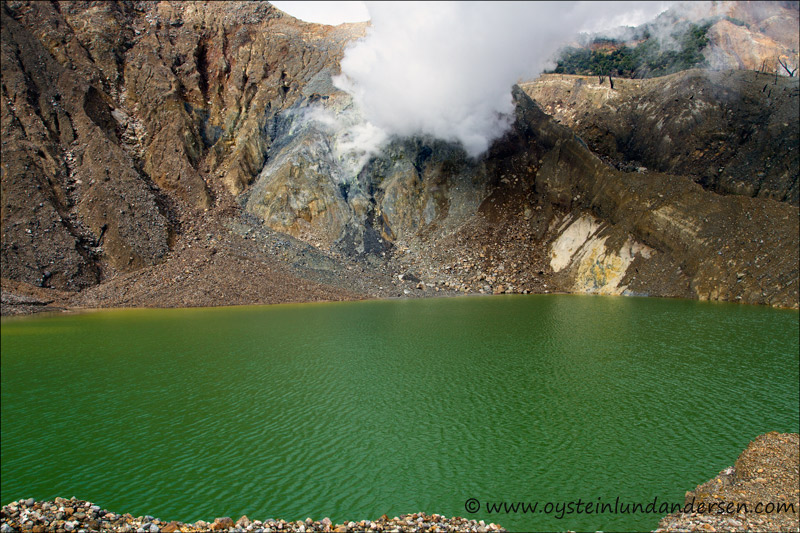 The kawah baru crater, that last erupted in 2002. The crater is now filled with a lake.