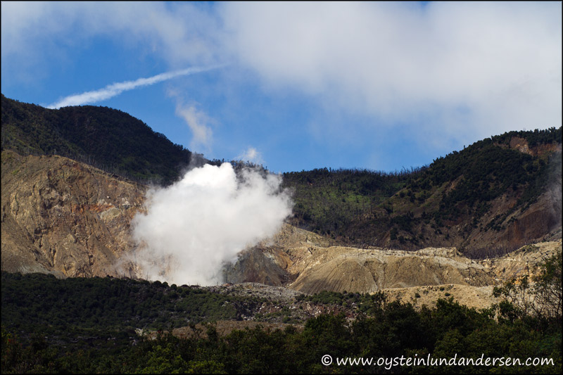 Steam from the Kawah baru crater.