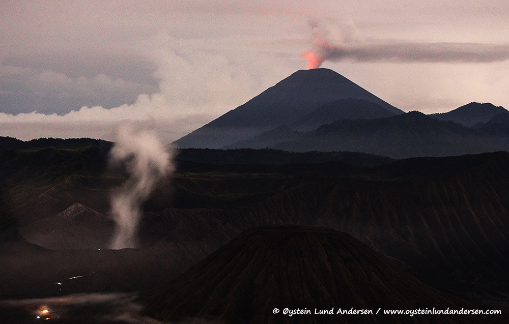 1. Bromo, and Semeru in the background. Semeru has a red incandescent glow from its growing lava-dome. (6th December)