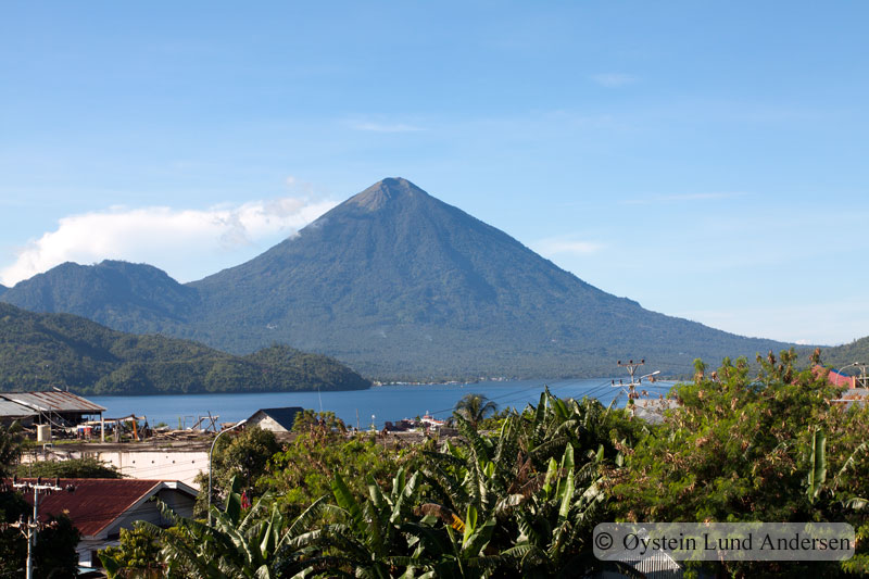 View on Tidore island. The mountain a old dormant volcano.