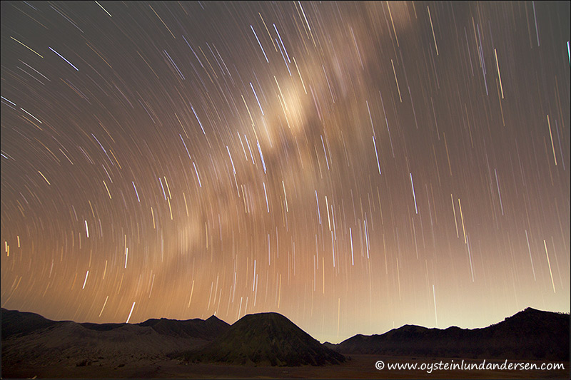 Star trails during a long exposure,. The stars seem to be moving, however it is the earths rotation that creates this illusion. (August 2012)