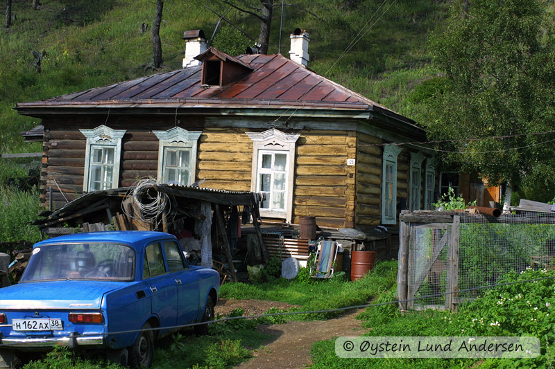Wooden house in the village of Listvyanka, Lake Baikal.