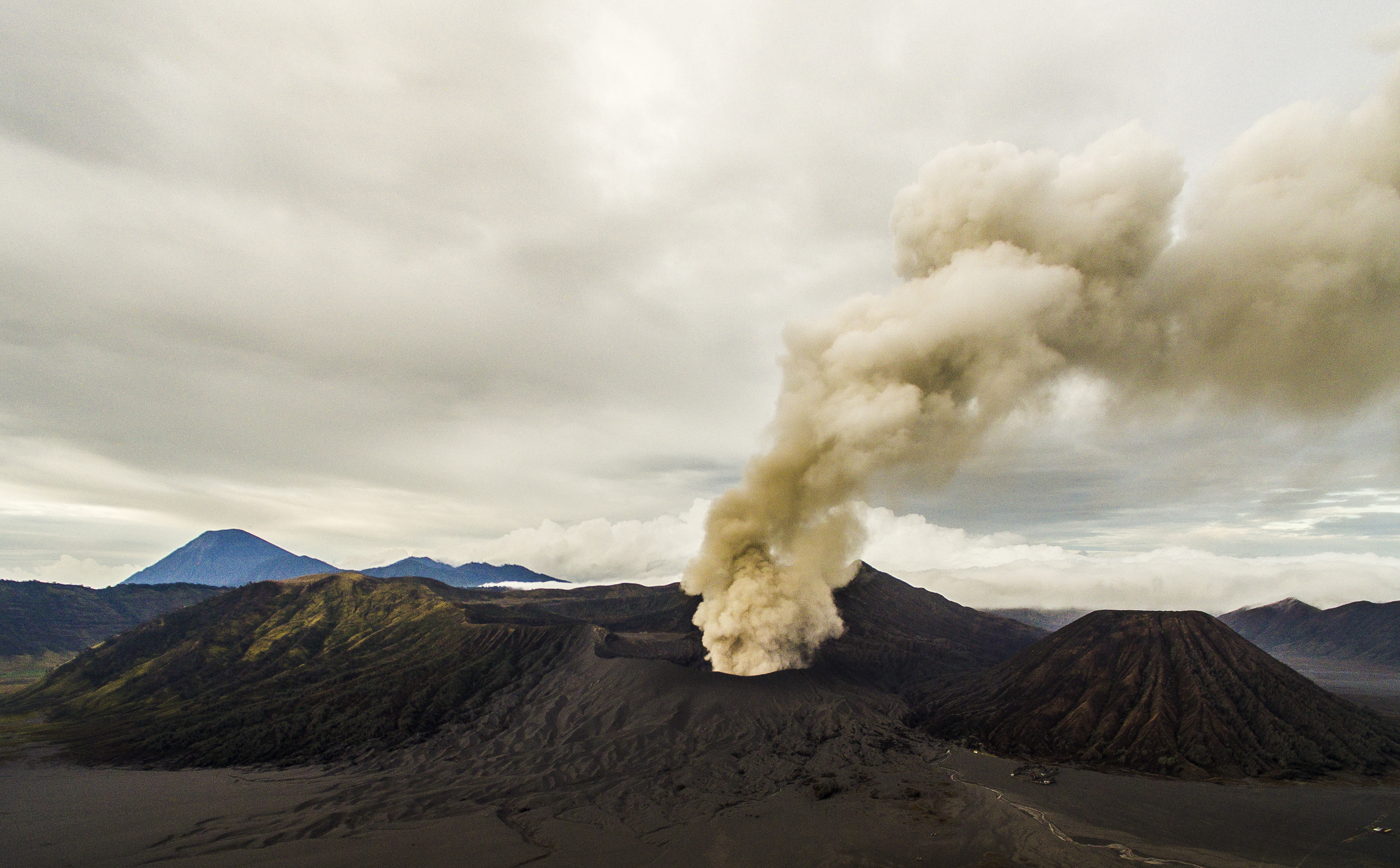 Bromo Eruption 2015 Indonesia ash lava Aerial