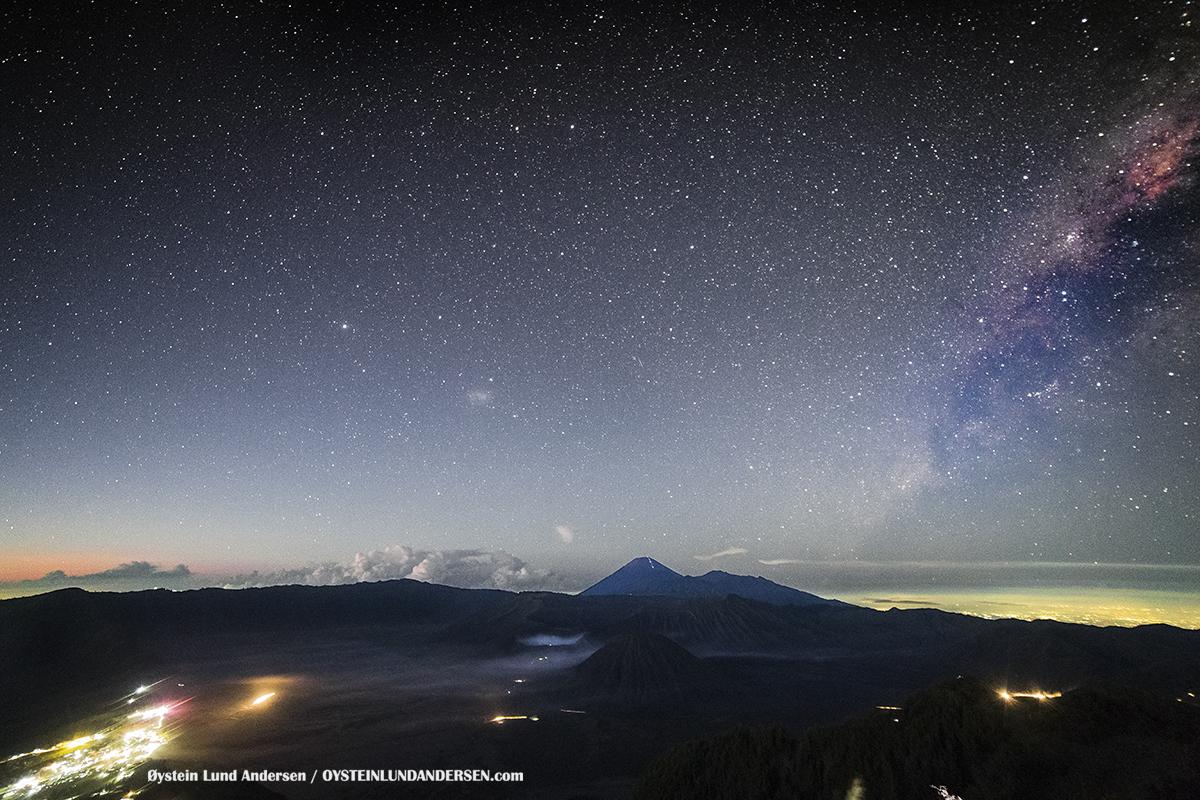 Night Stars milky Way Aerial Phantom Bromo Eruption 2016 Tengger Indonesia Eruption Volcano June 2016
