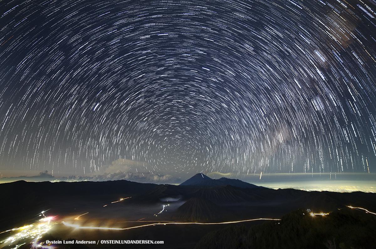 Star trails Tengger Bromo Volcano Astro