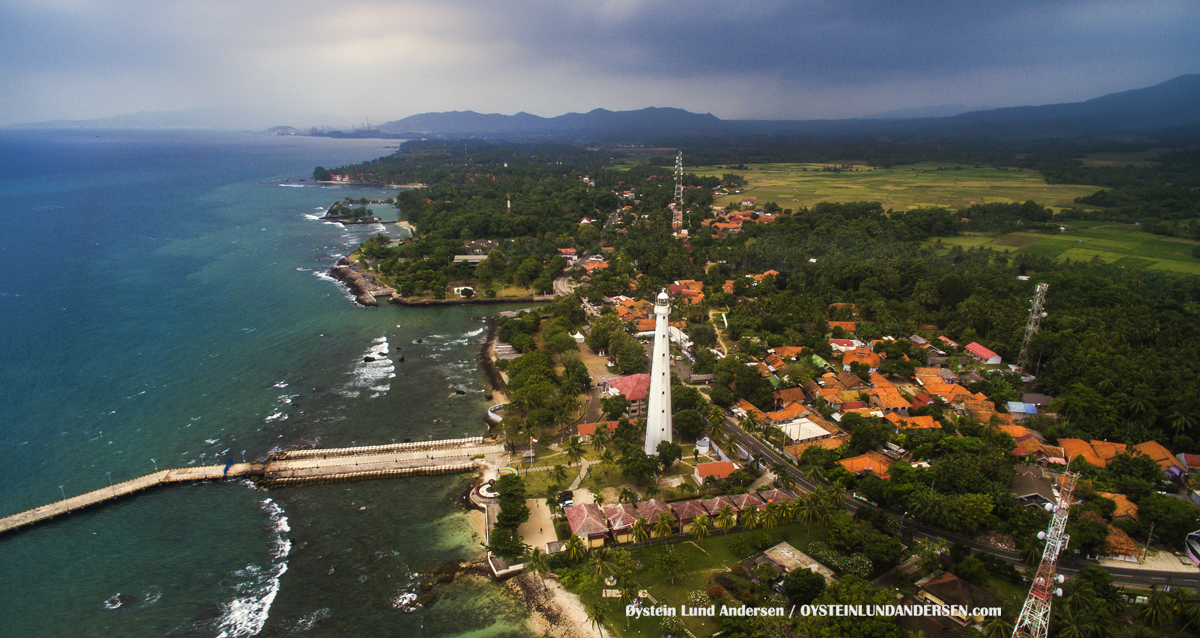 Anyer Lighthouse West Java Indonesia coast coral sunda straits Cikoneng Lighthouse