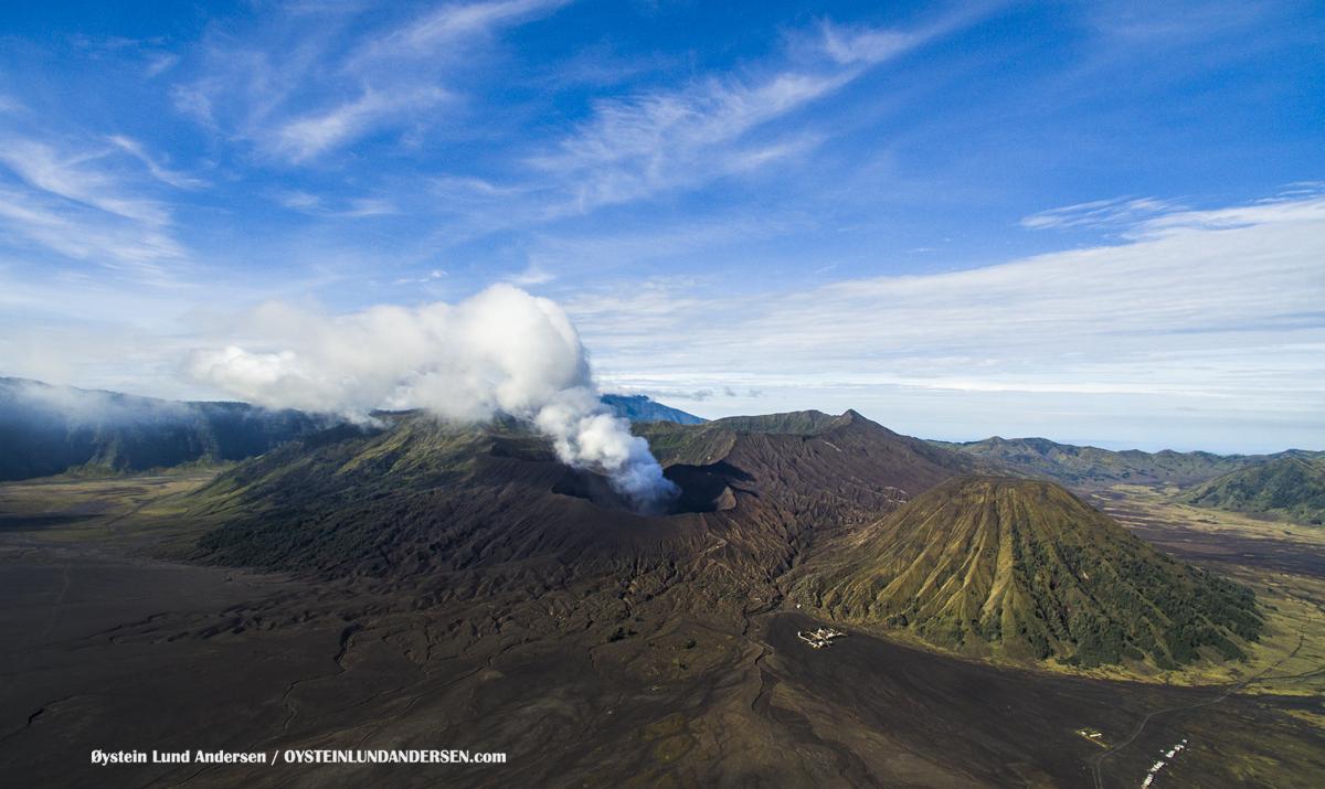 Aerial Drone Bromo Tengger Volcano Indonesia Eruption September-2016