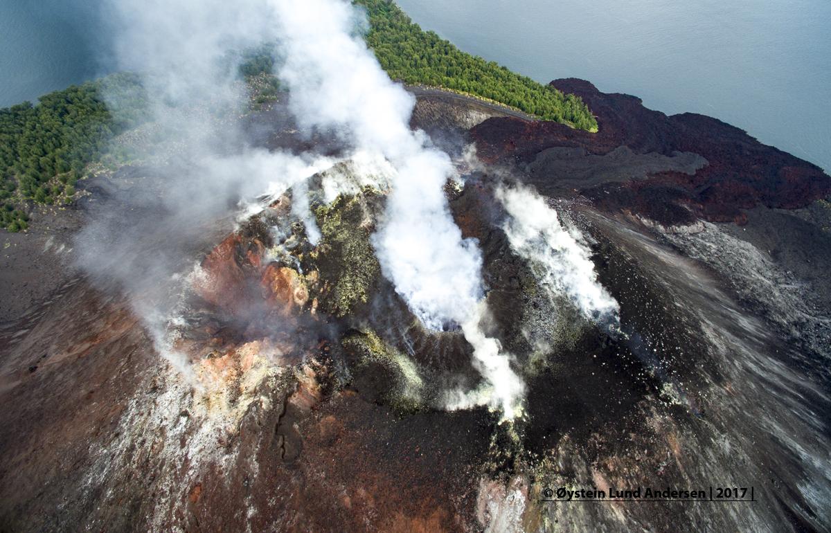 Aerial Krakatau crater 2017 dji volcano sunda java andersen