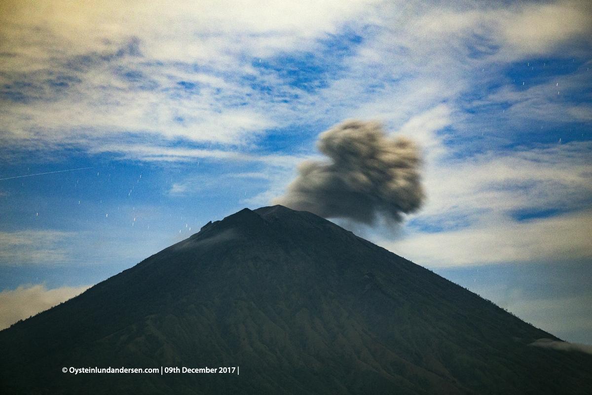 night Agung volcano Bali Indonesia December 2017