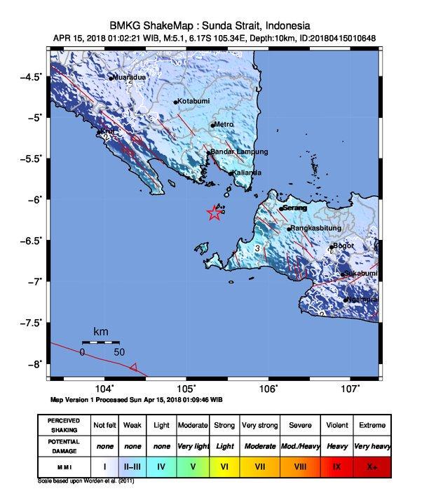 Earthquake Krakatau Sunda Strait 15 april 2018 volcano