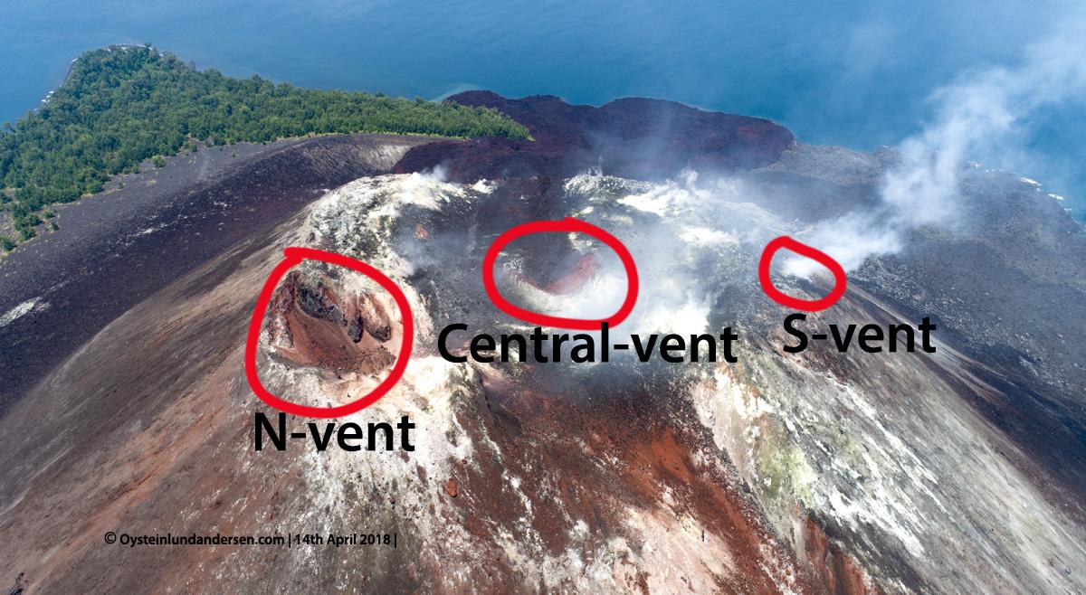 Krakatau volcano aerial summit crater illustration 2018