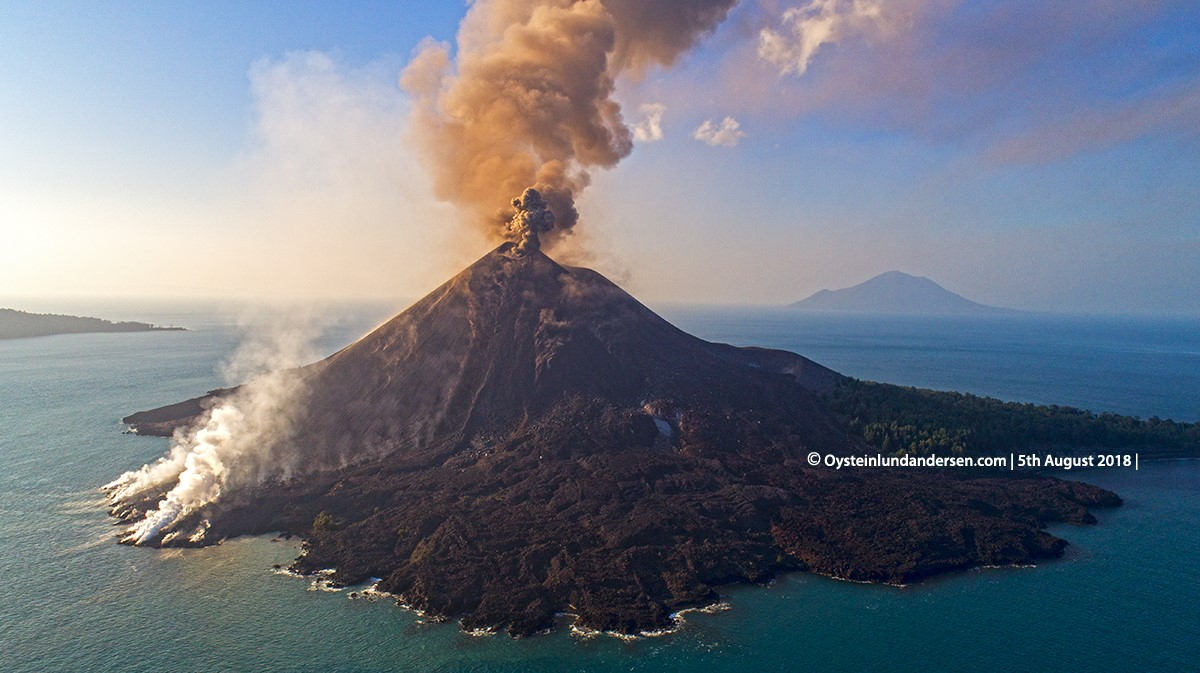 Krakatau Volcano Eruption Drone DJI August 2018 Indonesia Krakatoa