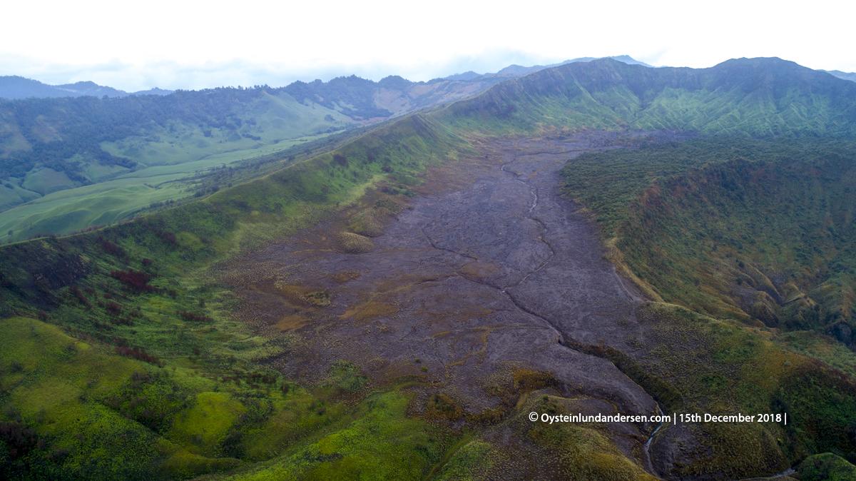 Bromo aerial crater volcano tengger 2018