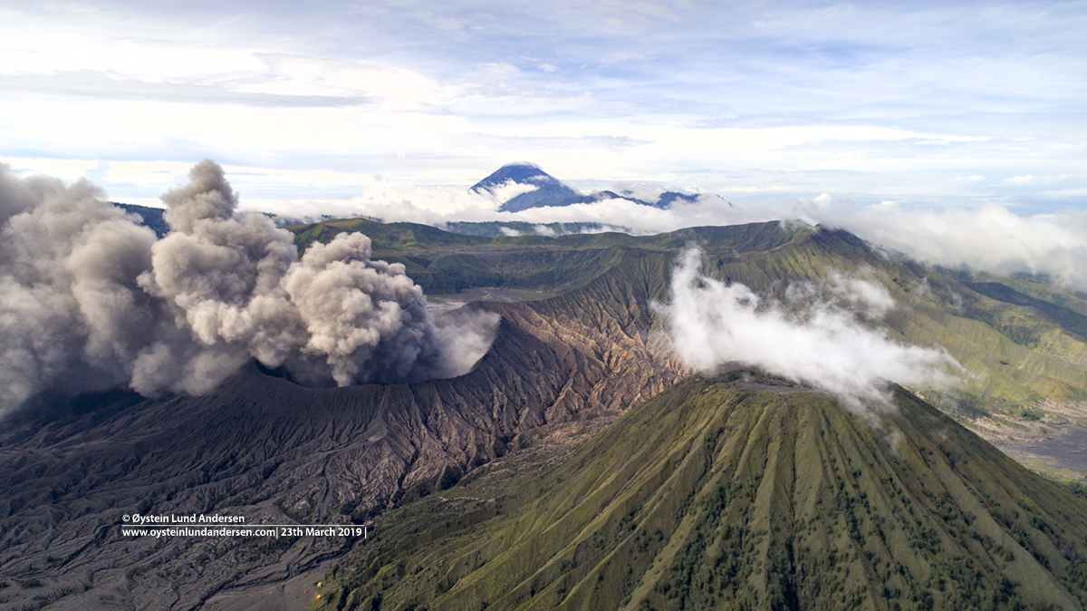 Bromo eruption march 2019 tengger drone