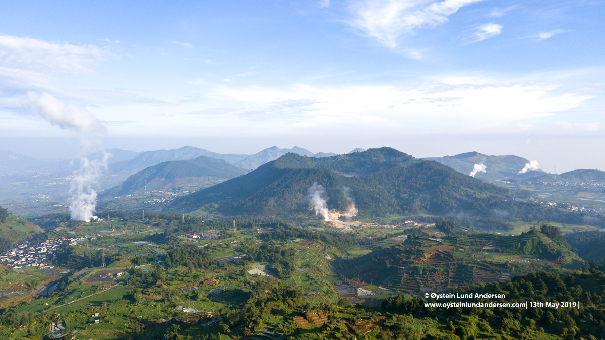 Panorama Dieng Plateau volcanic 2019 aerial drone