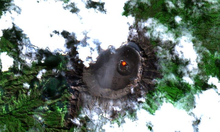 Satellite image raung volcano 2020