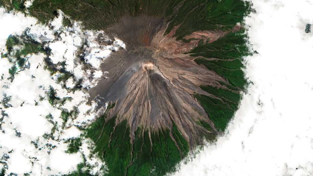 Semeru, satellite, image, october 2020