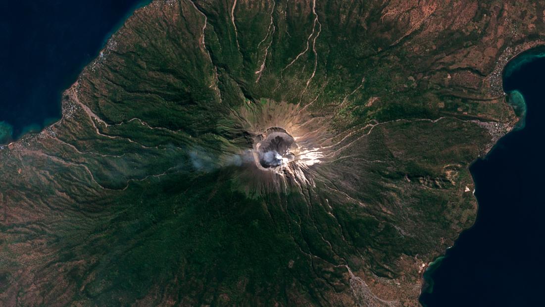 lewotolok volcano, satellite, image, 2021