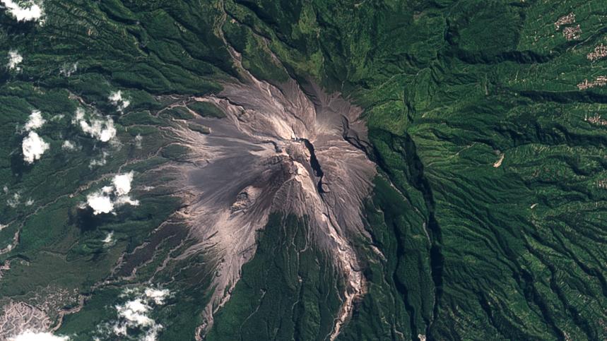 Merapi, volcano, satellite, image, 2021