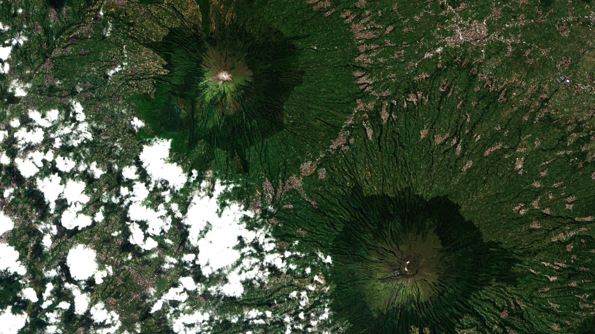 sumbing, sindoro, satellite, image, 2021