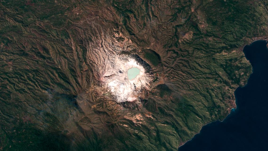 sirung volcano, indonesia, satellite, aerial, 2021